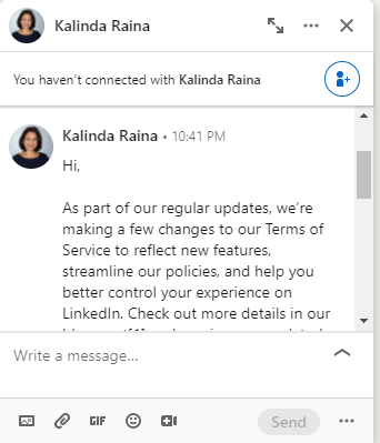 Good LinkedIn Message Sample