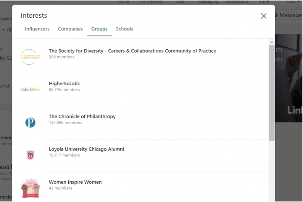 example of groups search by interests