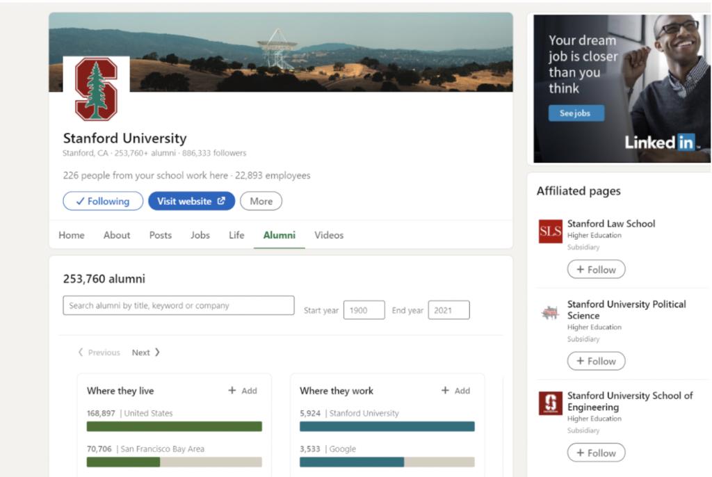 Example of University Linkedin Page
